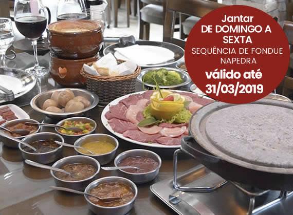 Jantar de Domingo a sexta - Sequencia de Fondue na Pedra para 2 pessoas de R$158,00 por apenas R$98,00