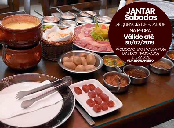 Jantar todos os Sabados - Sequencia de Fondue na Pedra para 2 pessoas de R$158,00 por apenas R$129,80