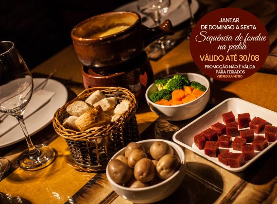 Jantar de Domingo a sexta - Sequencia de Fondue na Pedra para 2 pessoas de R$158,00 por apenas R$109,80