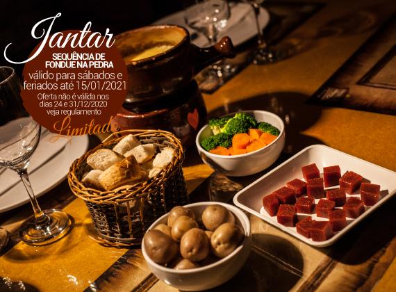 Jantar Sabados e feriados - Sequencia de Fondue na Pedra para 01 pessoa de R$89,00 por apenas R$64,90