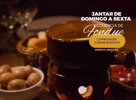 Jantar Domingo a sexta - Sequencia de Fondue na Pedra para 01 pessoa de R$96,00 por apenas R$59,90